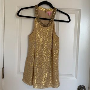 Lilly Pulitzer XS gold tank top cheetah print